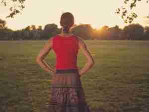 walking mindfulness mediation path across a field