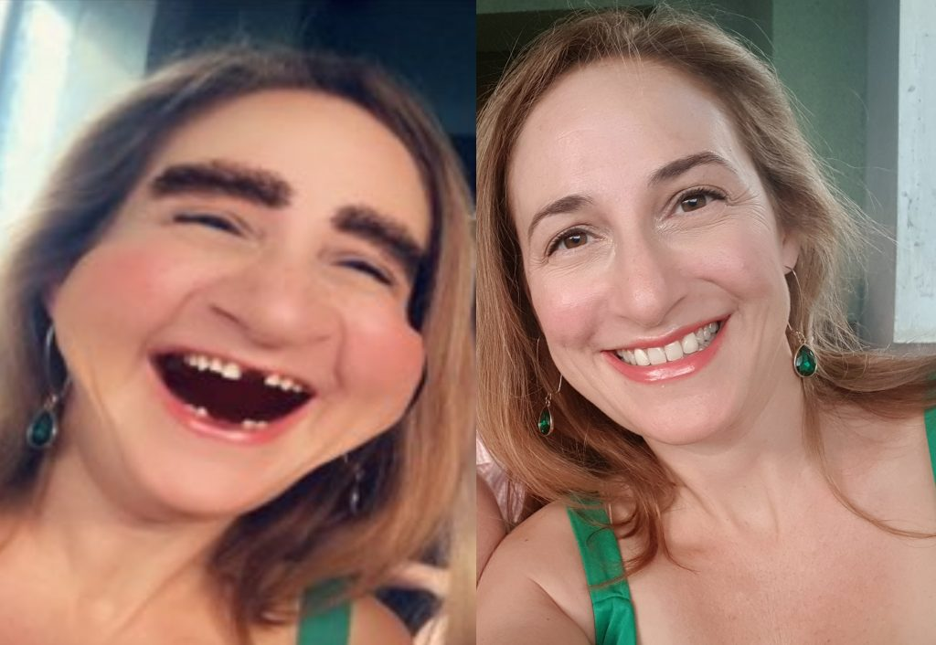 Photo of the author, Sarah Tuckett Psychotherapy and Counselling on her fiftieth birthday - with and without strange filters