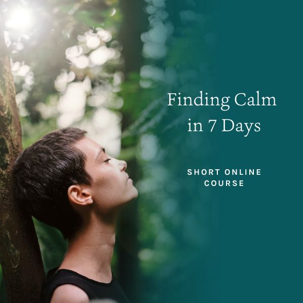 Young woman leaning back against a tree, relaxing -  finding calm in 7 days online course by Sarah Tuckett Psychotherapy and Counselling, North Brisbane